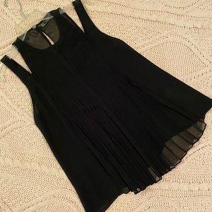 Dressy black pleated top Medium